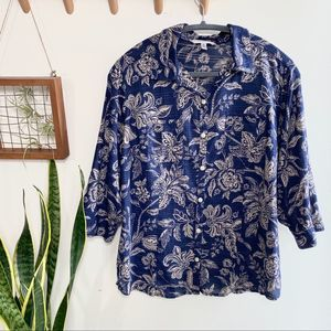 Croft and Barrow navy floral button up blouse XL